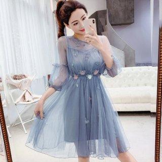 韓国ワンピース❤韓国ドレス 妖精のように花が可愛いシフォンのミニワンピ
