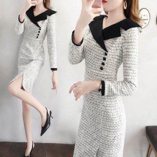 韓国ワンピース❤ラップな感じの可愛い襟元が特徴のお嬢様ワンピース