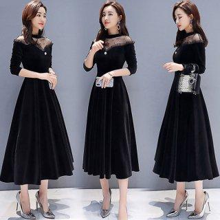 韓国ワンピース❤韓国ドレス とってもエレガント女子なレースのブラックワンピース