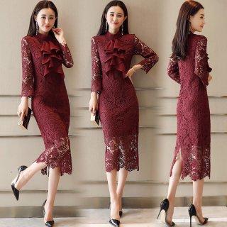 韓国ワンピース❤韓国ドレス ボウタイリボンが大人可愛い過ぎる総レースタイトワンピ