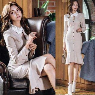 韓国ワンピース❤ちょっとお上品なタイトマーメードなお嬢様ワンピース