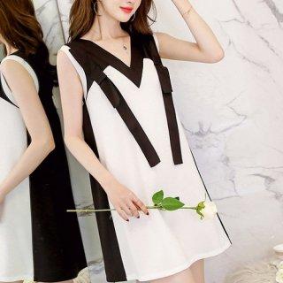 韓国ワンピース❤韓国ドレス バイカラーノースリーブの清楚可愛い大人バックコンシャスミニワンピ