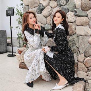 韓国ワンピース❤ドットに襟がレースのフェミニンガーリーな可愛いミモレワンピ