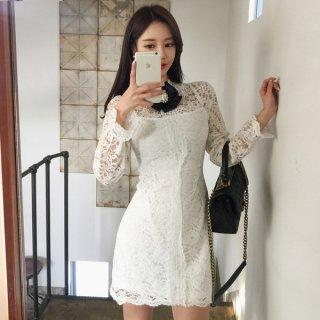 韓国ワンピース❤韓国ドレス リボンがとっても可愛い花柄レースのフェミニンガーリーなミニワンピ
