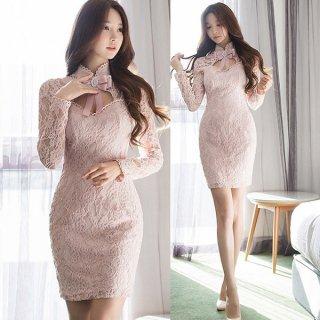韓国ワンピース❤韓国ドレス ピンクは正義なリボンと花柄レースのとってもフェミニンミニワンピ