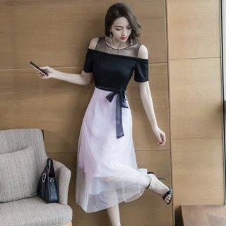 韓国ワンピース❤韓国ドレス ウエストリボンとオフショルダーにチュールスカート可愛いパーティードレス