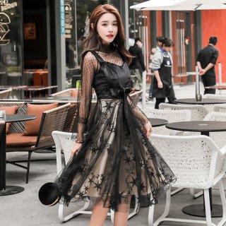 韓国ワンピース❤韓国ドレス 星柄チュールスカートにドットレースのトップで可愛い個性的ワンピ