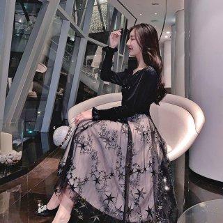 韓国ワンピース❤韓国ドレス 可愛い星柄チュールスカートにお嬢様のようなガーリーなトップのフレアワンピ