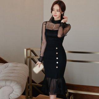 韓国ワンピース❤韓国ドレス 巻きスカートぽいマーメードスカートが大人可愛いブラックドレス
