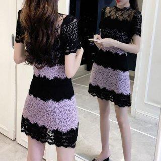 韓国ワンピース❤韓国ドレス レースとパープルが大人の魅力で可愛いミニワンピ