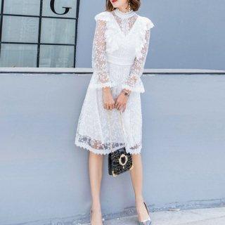 韓国ワンピース❤韓国ドレス 純白レースが清楚でとっても可愛い大人ガーリーワンピ