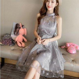 韓国ワンピース❤韓国ドレス 胸元シースルーがとっても可愛いお姫様プリンセスドレス