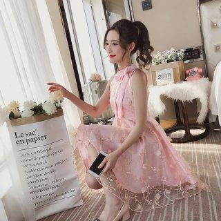 韓国ワンピース❤韓国ドレス リボンと花柄刺繍でとってもフェミニン可愛いお嬢様プリンセスドレス
