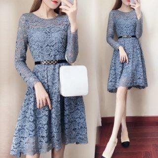 韓国ワンピース❤韓国ドレス 大人色の花柄総レースブルーでスカートちょいフィッシュテールワンピ