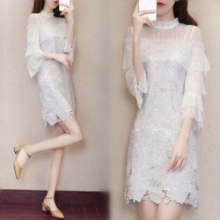 韓国ワンピース❤韓国ドレス 清楚綺麗な袖コンシャス上品ミニワンピ