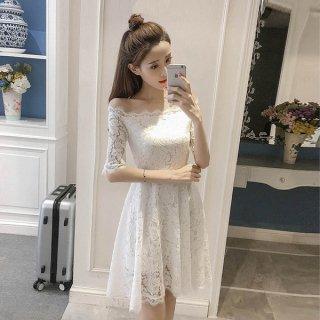 韓国ワンピース❤韓国ドレス オフショルダー花柄総レースのガーリーミニワンピ