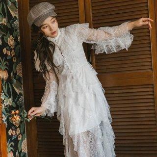 韓国ワンピース❤韓国ドレス 幻想的ふんわりお嬢様レースでティアードなホワイトワンピース