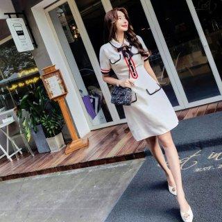 韓国ワンピース❤トリコロール風とリボンが大人可愛い半袖カジュアルワンピ