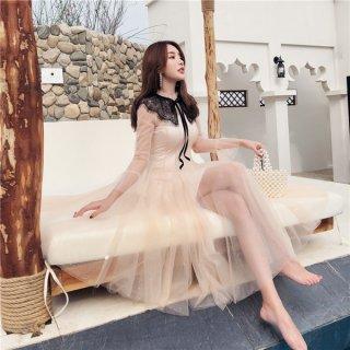 韓国ワンピース❤お嬢様フェミニンガーリーな黒のレースにシフォンファンタジックな可愛いワンピ