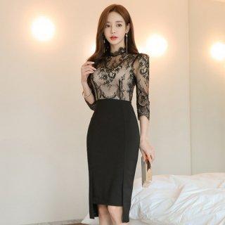 韓国ワンピース❤韓国ドレス レースデザインと前後のギャップスカートのタイトパーティードレス