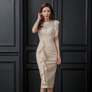 韓国ワンピース❤韓国ドレス フリルアシンメトリーと胸元背中シースルーレースのパーティードレス