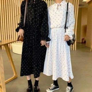 韓国ワンピース❤襟元可愛い韓国ファッションの双子コーデドットワンピース