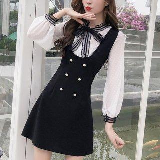 韓国ワンピース❤ブラウス風 リボン可愛いフェミニンお嬢様ミニワンピ