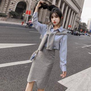 韓国ツーピース❤セットアップ ブラウスと裾がお洒落なスカートのカジュアルセット