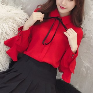 韓国ブラウス❤トップス 袖フリルとリボン可愛いフェミニンシャツ