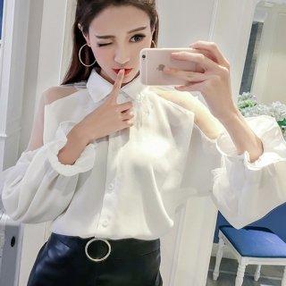 韓国ブラウス❤トップス 肩の大胆シースルーとパフスリーブ可愛いシャツ