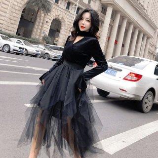 韓国ワンピース❤可愛いティアードチュールスカートが個性的なミモレフレアワンピ