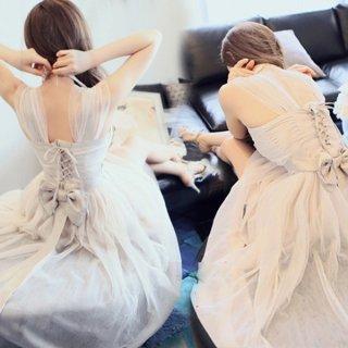 韓国ワンピース❤編み上げバックコンシャスなリボン可愛いフェミニンワンピ