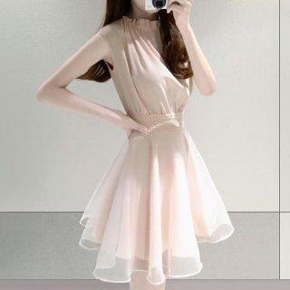 韓国ワンピース❤ノースリーブのフェミニン可愛いワンピースドレス