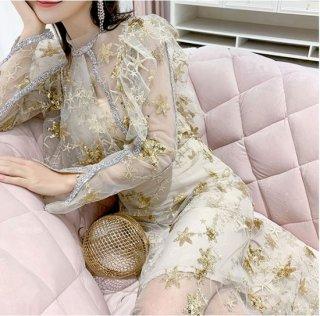 韓国ワンピース❤韓国ドレス 星柄スパンコールがとっても大人可愛いエレガントドレス