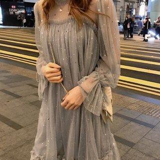 韓国ワンピース❤韓国ドレス ゆるふわ可愛いスパンコールのドレスワンピ