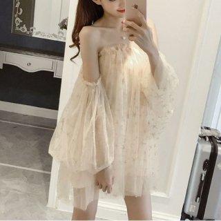 韓国ワンピース❤韓国ドレス ちょっと大胆オフショルダー星柄スパンコールのミニドレス