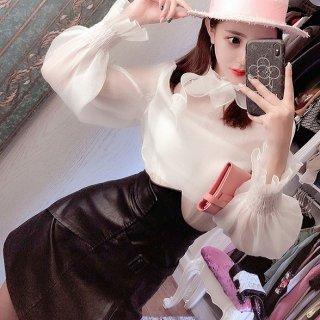 韓国ワンピース❤大人フェミニン可愛いパフスリーブトップスハイウエストスカート
