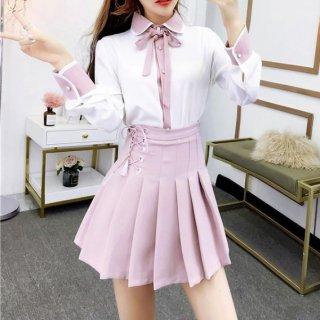 韓国ワンピース❤ツーピース ピンクガーリー可愛いブラウスとスカートのセットアップ