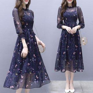 韓国ワンピース❤韓国ドレス 蝶と子花柄がとっても大人可愛いパーティードレス