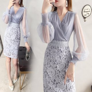 韓国ワンピース❤韓国ドレス 上品きれいめにシースルー袖にカシュクール、レースのタイトスカートがバランスとれたエレガントワンピ