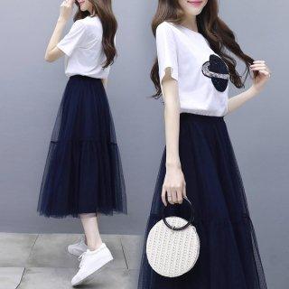 韓国ワンピース❤可愛いフェミニンガーリーなロングスカート切り替えワンピ