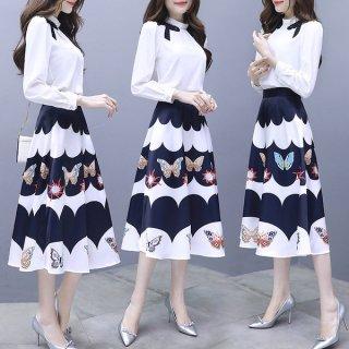 韓国ワンピース❤韓国ドレス とっても大人可愛いエレガントフェミニンガーリーなミモレワンピ