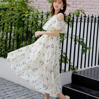 韓国ワンピース❤とっても花柄可愛い人気のデザインのゆるふわミモレワンピ