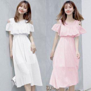 韓国ワンピース❤韓国ドレス デザイン可愛い無地シンプルなドレスワンピ