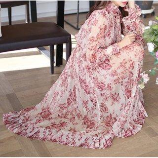 韓国ワンピース❤大人可愛いエレガント花柄にリボンの上品ミモレワンピ