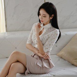 韓国ワンピース❤レースのトップスにペプラムのようなタイトスカートが可愛いセットアップツーピース
