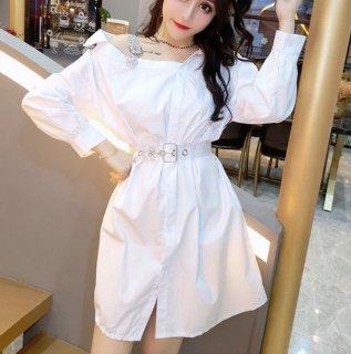韓国ワンピース❤ワンショルダーが可愛いシャツワンピ