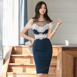 韓国ワンピース❤韓国ドレス ショルダーとウエストが花柄レースでとってもセクシー大人可愛いタイトワンピ