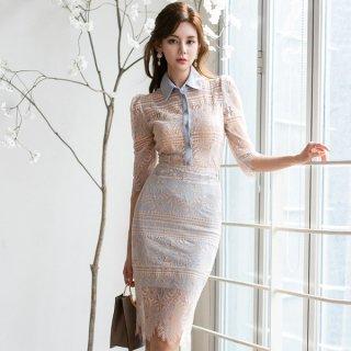 韓国ワンピース❤韓国ドレス 襟付き上品フォーマルとエスニック花柄の異色の組み合わせのの個性的タイトワンピ