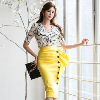 韓国ワンピース❤ツーピース フリルアシンメトリーなスカートと大人柄カシュクールなトップスのセットアップ